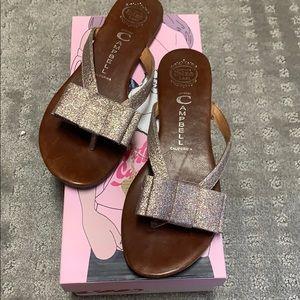 Jeffrey Campbell glitter bow sandals